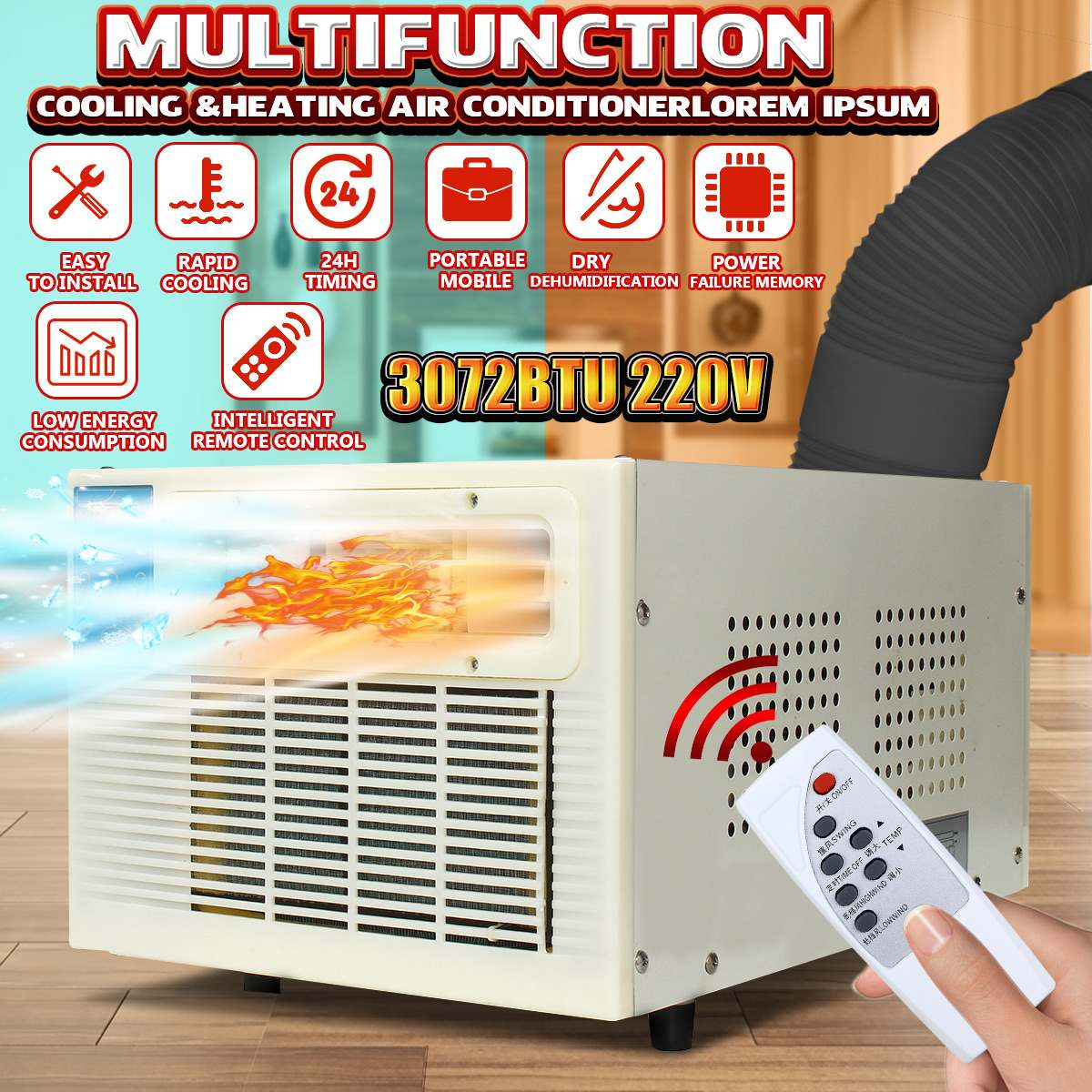 Air Conditioner 3072 BTU 220V Household Portable Heater Window Air Conditioner Cooling Heating Cold/Heat Dual Use Dehumidifier
