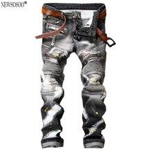 Newsosoo мужская винтаж карманы тонкий байкер джинсы мужчин Случайные джинсовые брюки Длинные брюки Ручная роспись ковбой брюки MJ44