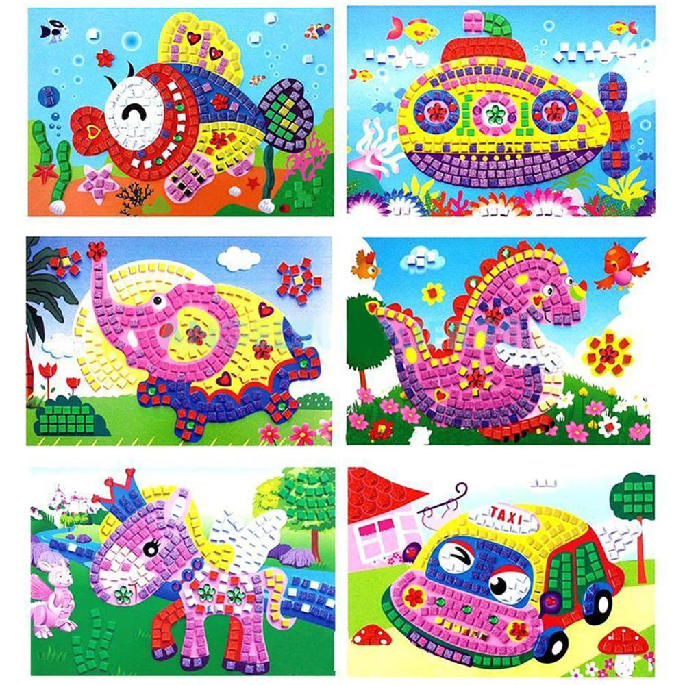 Baby Kid Developmental Game Cartoon Animal Crystal 3D Mosaics Art Puzzle DIY Stickers Creative Educational Craft Toy For Kids