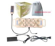 Bolas de masaje eléctricas para el cuidado de la salud con piedras de Jade y germanio, colchoneta de calor infrarrojo lejano turmalina Natural plegable, almohada para la espalda y el cuello