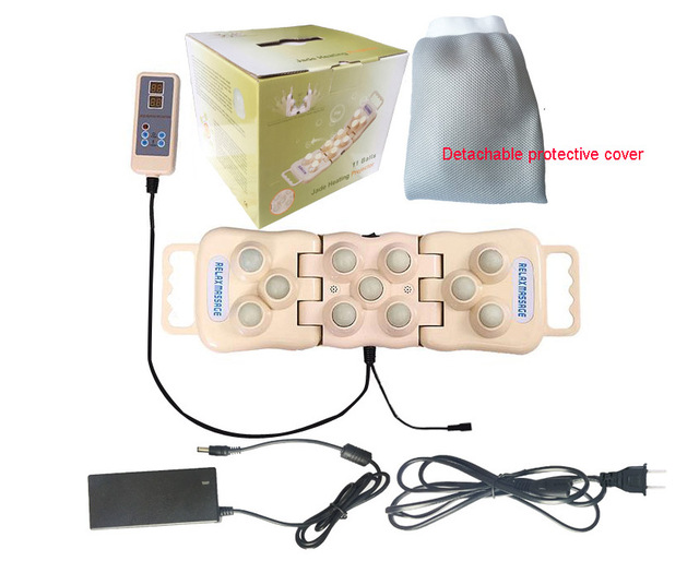 Soins de santé électrique Jade germanium pierre boules de massage pliable Tourmaline naturelle infrarouge lointain tapis de chaleur dos cou oreiller