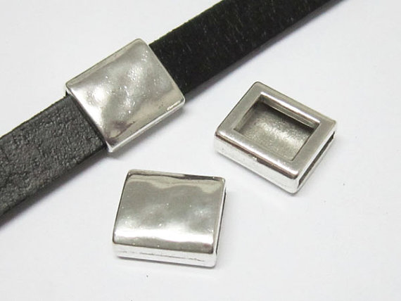Curseur rectangle martelé 10x2mm trouvailles en cuir plat-FF44
