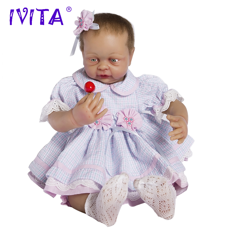 IVITA 22 Inches Silicone Reborn Babies Realistic Metal Skeleton Blue Eyes Soft Silicone Doll Root Hair Silicone Dolls Reborn aisi hair 33 22 inches
