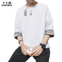 Summer 7 Points Sleeve Round Neck Loose Korean Style Half Sleeves Black White Plain T Shirt