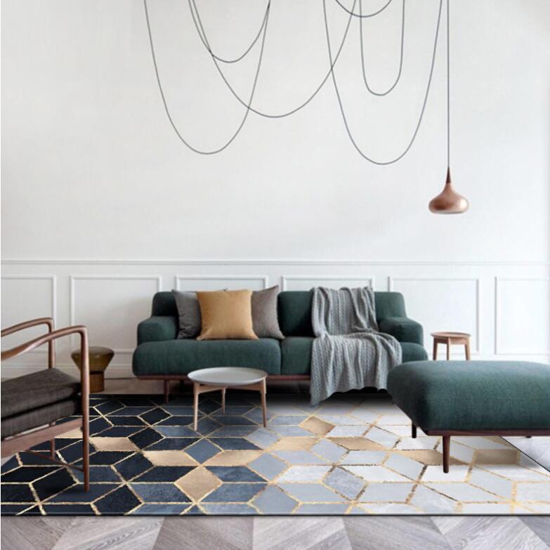 Nouveau INS nordique moderne métal doré tapis noir géométrique pour chambre porte tapis salon tapis salon Tapete métal vent tapis - 3