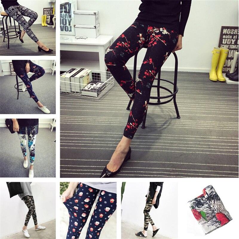 Fashion Print Flower   Leggings   Plus Size Elastic Plaid Thin Nine Pants Women Autumn Leopard Print Trousers Christmas Gifts