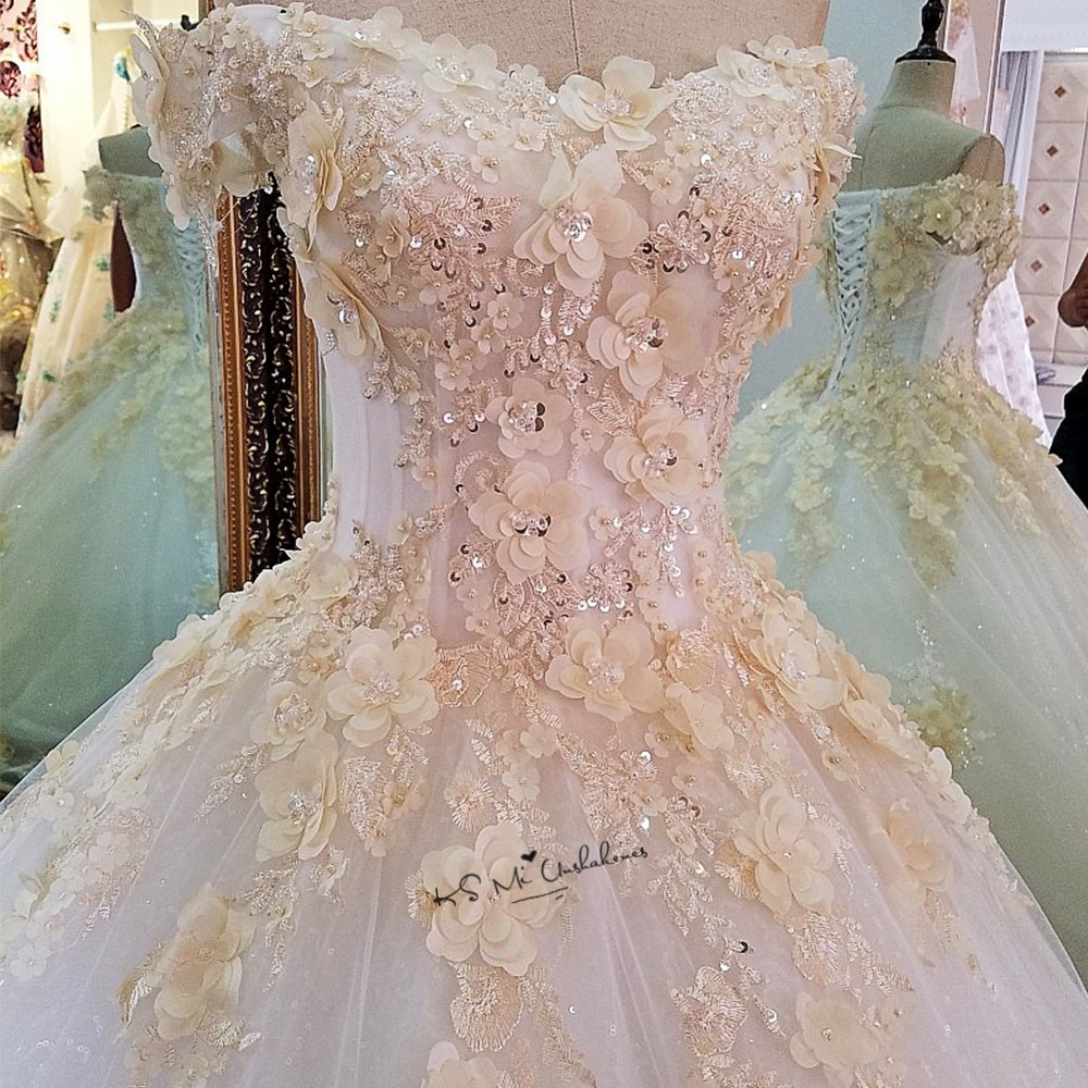 Champagne Flowers Turkey Vintage Wedding Dress 2018 Puffy Ball Gown Bride Dresses Vestido De Noiva Lace Plus Size Wedding Gowns