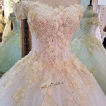 Şampanya Çiçekler Türkiye Eski düğün elbisesi 2018 Kabarık Balo Gelin Elbiseler Vestido de Noiva Dantel Artı Boyutu Gelinlikler