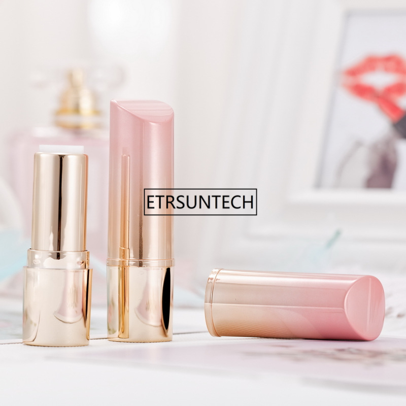 12.1mm Pink&Gold Plastic Empty Cosmetic Lipstick Tube, Gradient Handmade Beauty Lip Rouge Refillable Container F1947