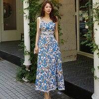 Floral Big Swing Dress Summer for Women Women Korean Style Beach Flower Dress Sleeveless Empire Vacation Long Yellow Dress Robe