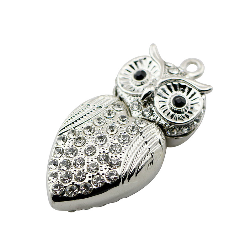 Animal USB Flash Drive Metal Diamond Owl Pendrive Nighthawk Pen Drive 4GB 8GB 16GB 32GB 64GB USB Memory Stick Gift With Necklace 4