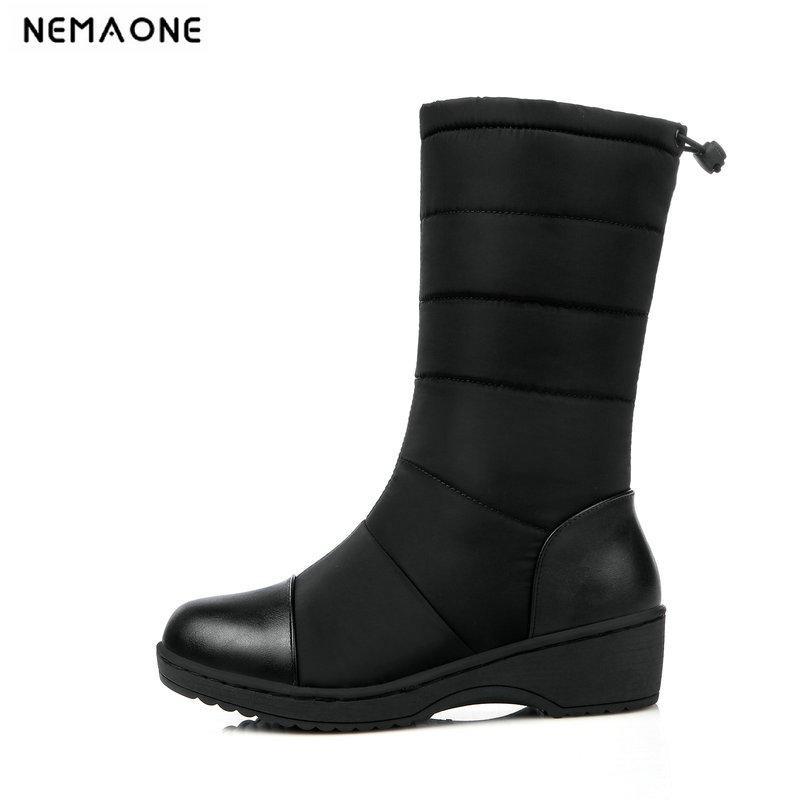 NemaoNe Winter Women Boots Mid-Calf Down Boots Female Waterproof Ladies Snow Boots Girls Winter Shoes Woman Plush Botas Mujer ekoak new 2017 winter boots fashion women boots warm plush mid calf boots ladies platform shoes woman rubber leather snow boots