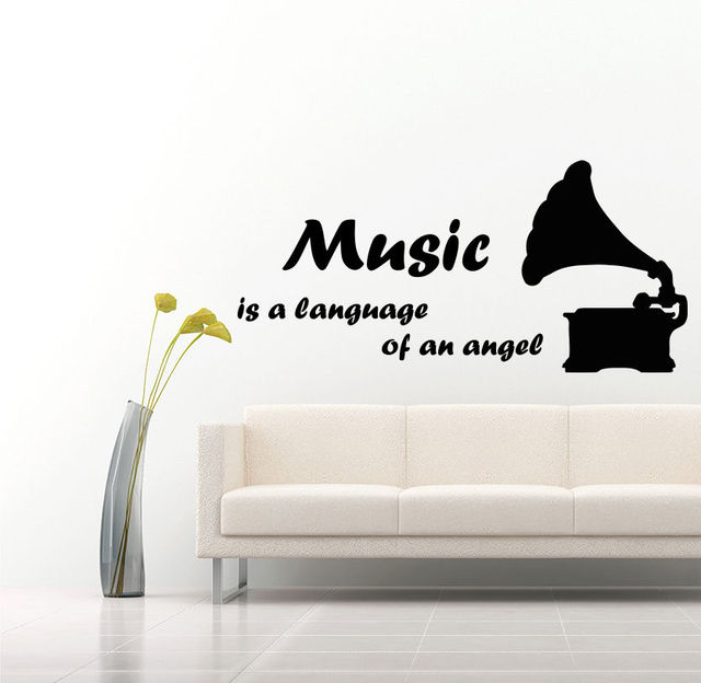 Wall decals music decal vinyl sticker quote gramophone musical notes decor