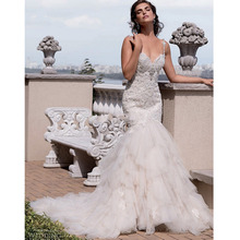 Custom Made Vestido De Novia Ivory/White Organza Beading Ruffles Pleat Applique Lace Mermaid Wedding Dress