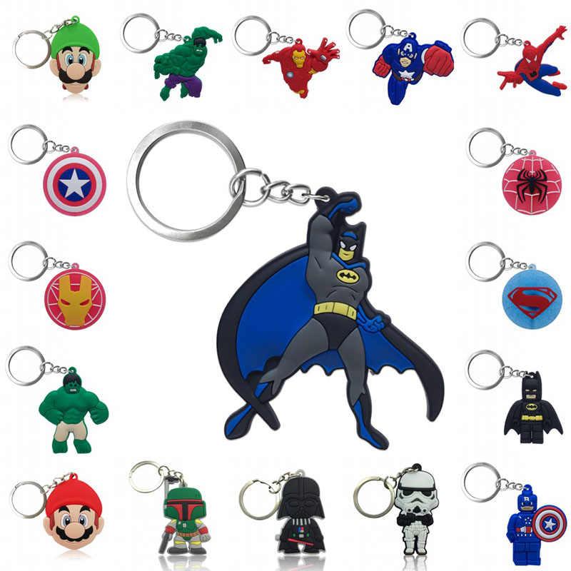 1 pcs Chaveiro PVC Figura Dos Desenhos Animados Super Hero Avengers Super Mario Star Wars Chave Titular do Anel Chave da Cadeia de Moda encantos