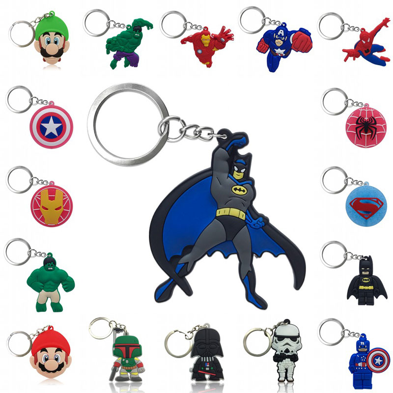 1pcs Keychain PVC Cartoon Figure Super Hero Avengers Super Mario Star Wars Key Chain Key Ring Key Holder Fashion Charms