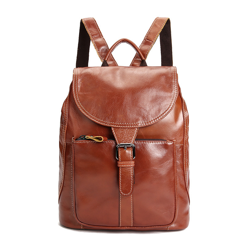 New High Quality Cowhide Genuine Leather Women Lady Backpack Vintage Bagpack for Teenage Girls Casual Female Shoulder Bags
