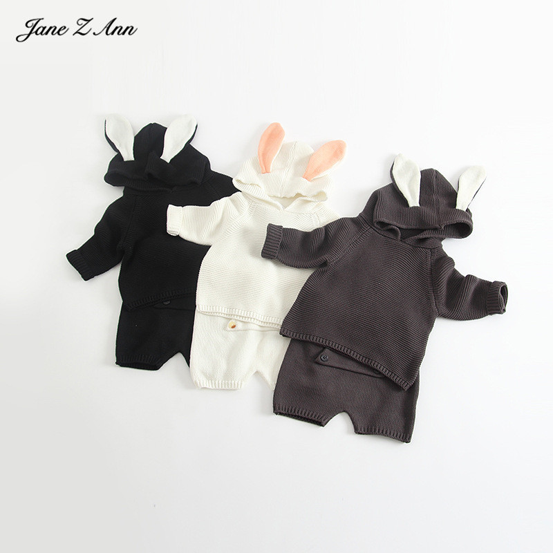 2018 autumn and winter new rabbit ears boys and girls cute hooded top+shorts infant toddler clothing set bunny costume flamingo embroidered striped top and curved hem shorts set
