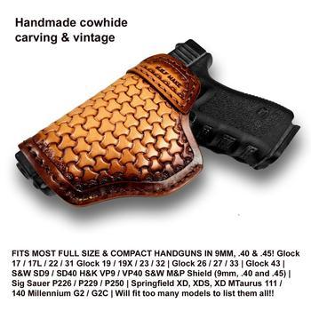 B.B.F Make IWB пистолет кобура кожаный Футляр чехол с рисунком чехол для S & W M & P ЩИТ Глок 17 18 19 22 23 26 27 32 42 43 Спрингфилд