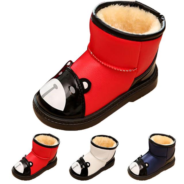Niños Nieve Botas Zapatos de Los Bebés Oso de Moda A Prueba de agua Nieve botas de Invierno Para Los Muchachos Niños Botas chicas botas de Invierno de Navidad regalos