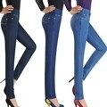 Nova chegada das mulheres do sexo feminino calça jeans de cintura alta calça jeans Elásticos plus size 6XL pant Casuais