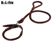 Luxury Genuine Leather Pet Dog Leash Collar Rope Lead Walking For Medium Large Big Set Traction 120cm