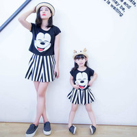 Mother Daughter Summer Sets 2pcs Tshirt+skirt Cartoon Mickey Family Matching Outfits Stripe Women Girl Fashion Clothing Prints