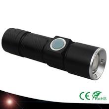 USB conveniente Potente Linterna LED Recargable usb Lámparas de Bolsillo Bicicleta de la Antorcha de Luz de Flash LED Escalable Para La Caza Negro