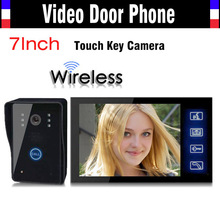 1V1 Wireless Video Door Phone Doorbell Intercom System 7 Inch Touch Key IR Night Vision Camera Rain Proof 1 Camera 1 Monitors
