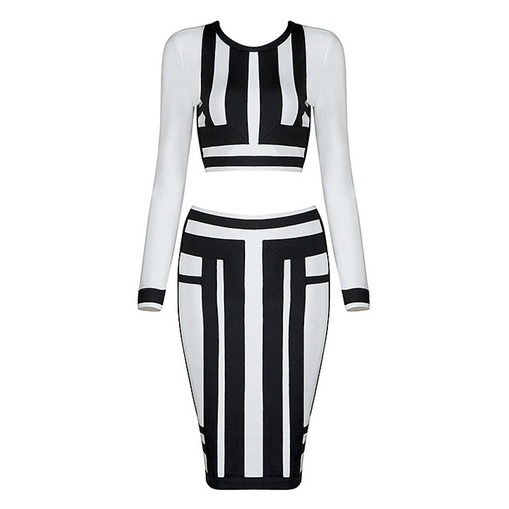 Top Quality White Black Geometric Long Sleeve Rayon Bandage Dress Celebrity Party Dress