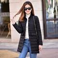 2016 Outono Fino Casaco Leve Para Baixo Colarinho Da Camisa Magro das Mulheres Duplo Pockets Moda Feminina Longo Para Baixo Casacos Outerwear YR17
