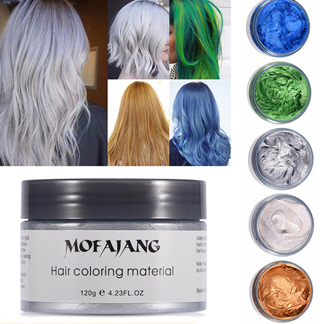 b0ef9aacd2b MOFAJANG 120g Hair Coloring Wax Silver Ash Grey Strong Hold Temporary Hair  Dye Gel Mud Easy Wash Hair Color Styling Promades Wax