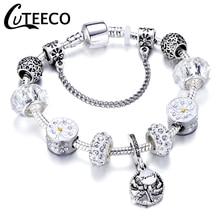CUTEECO посеребренный Дерево жизни браслет с подвесками Новые Хрустальные Бусины Подходят брендовый браслет и браслет для женщин ювелирные изделия
