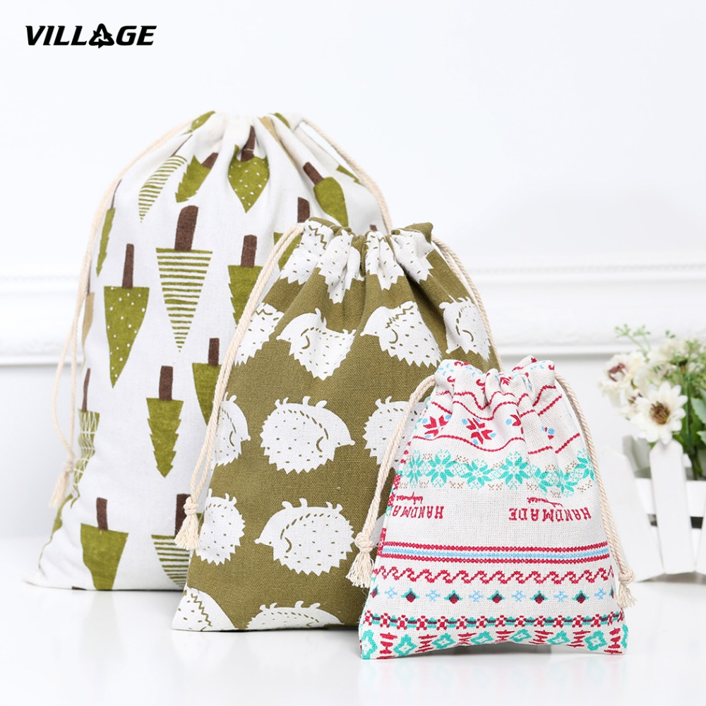 VILLGE Portable Drawstring Bags Girls Shoes Bags Women Cotton Travel Pouch Storage Clothes Handbag High Quality Makeup Bag