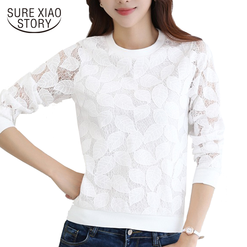 2016 New Arrival Hot Sale Fashion Lace Blouses Shirt Female Fall Fashion Chiffon shirt Thin Long Sleeved Shirt 883H 25