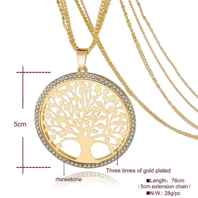 LongWay Gold Color Tree Of Life Jewelry Set For Women Girls Necklace Earrings Bracelets Wedding Crystal Jewellery Set SET160008 1
