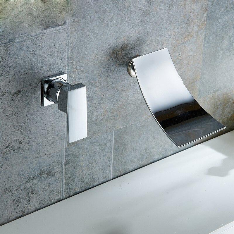 Robinets de lavabo fixés au mur robinets de salle de bains miroir robinet en laiton chromé mélangeur chaud et froid robinet moderne cascade