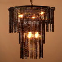 Лофт Винтаж промышленные металлические цепи E27 Edison люстра оттенков под старину Сельский Кованые люстры Освещение коридор кафе