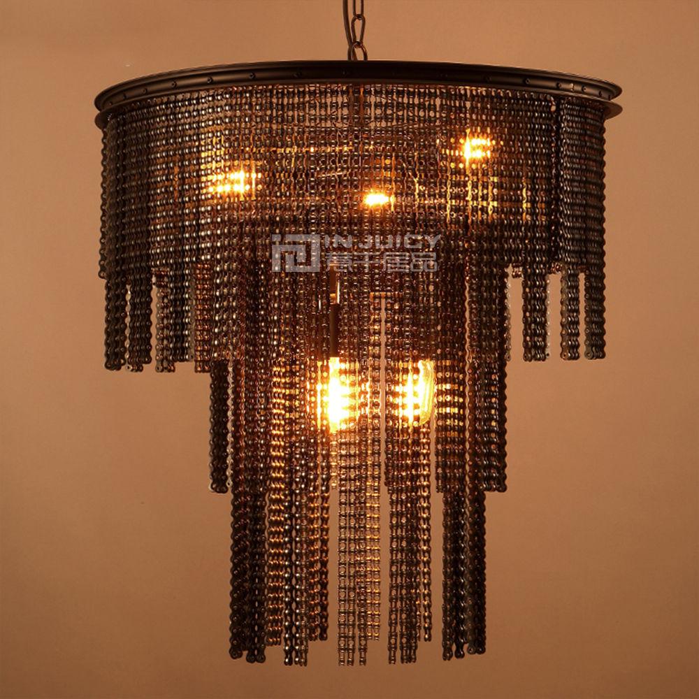 Loft Vintage Industrial Metal Chain E27 Edison Chandelier Shades Antique Rustic Wrought Iron Chandelier Lighting Corridor Cafe