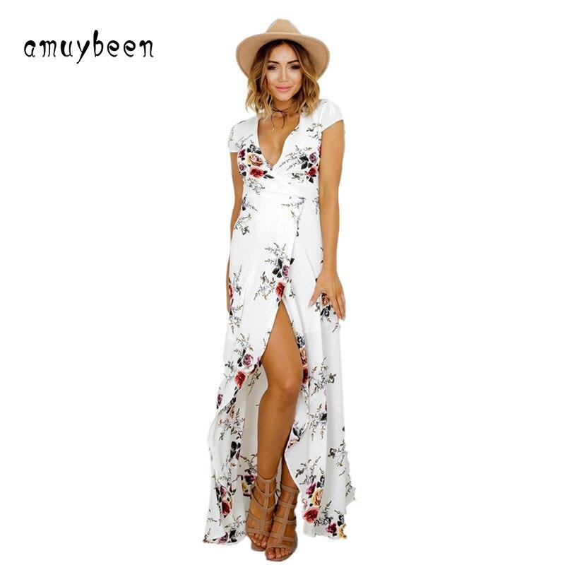 Dresses Deep V-neck Dress Summer Women White Chiffon Sashes Dress Sundress Long Beach Boho Temptation Floral Sexy Summer Dresses
