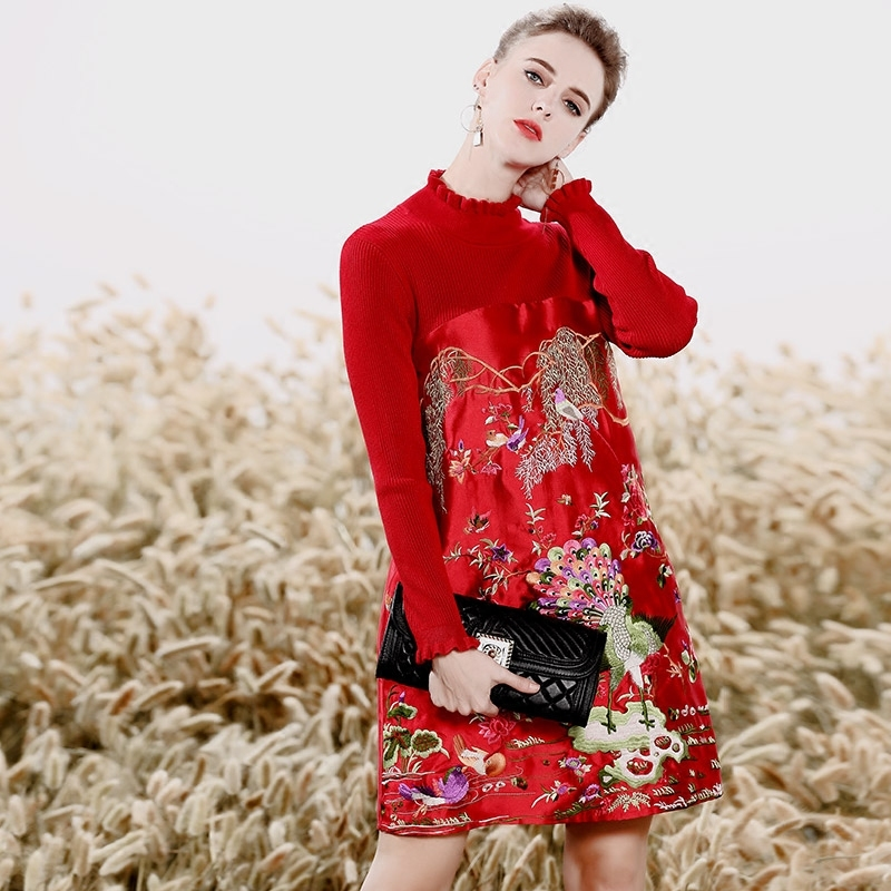Chinese traditional clothing women black/red patchwork knit dress winter vintage floral embroidery elegant beautiful dress S XXL-in Dresses from Women's Clothing on Aliexpress.com   Alibaba Group