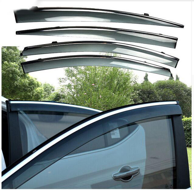 For 2016-17 HYUNDAI Elantra Avante Sun Rain Guard Window Visors With Chrome Trim Deflectors Weather Shield Weathershields 4pcs set smoke sun rain visor vent window deflector shield guard shade for cadillac xt5 2016 2017