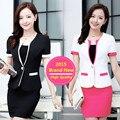 3XL 2015 Estilo Verão Doce Cor Saia Ternos Plus Size Uniformes de Trabalho Das Mulheres de Negócio Ternos Escritório Formal Elegante Blazer Feminino