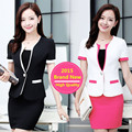 3XL 2015 Summer Style Candy Color Skirt Suits Plus Size Women Business Suits Formal Office Uniforms Work Elegant Blazer Feminino