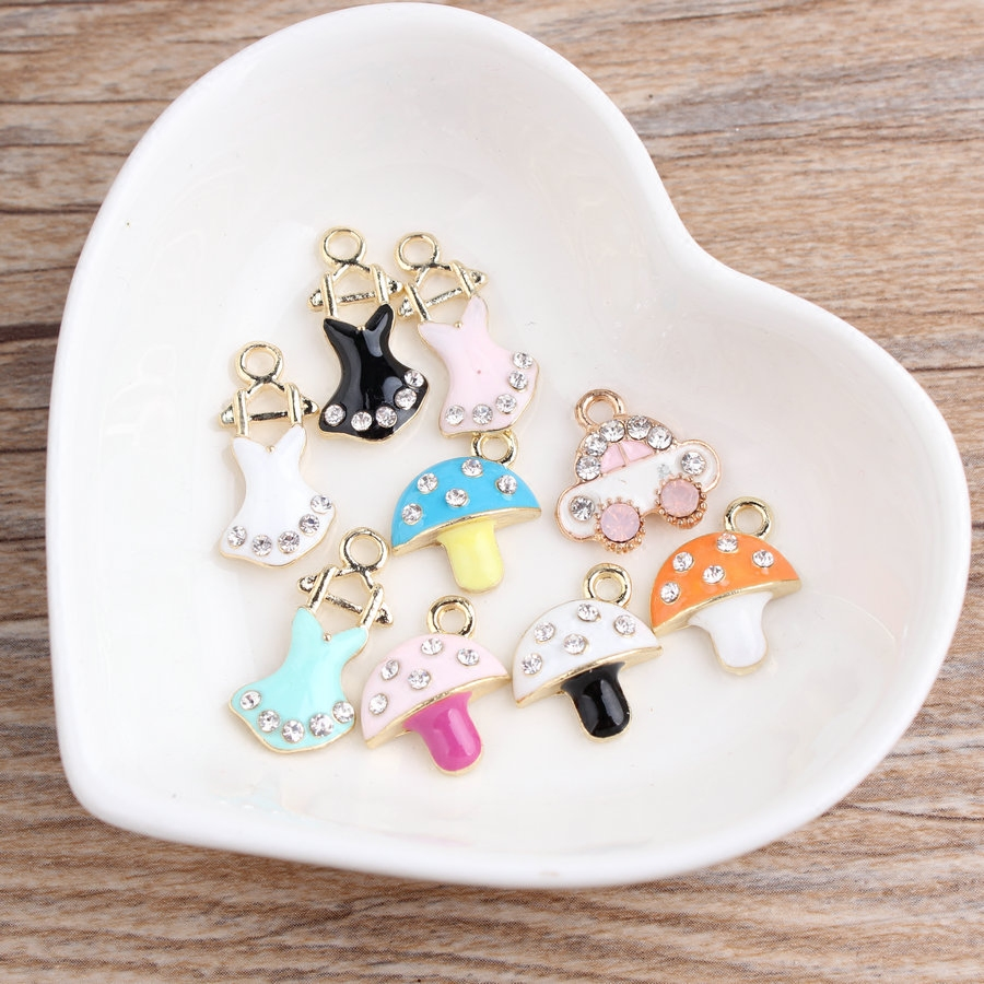 New Arrival 50PCS/lot Rhinestone Crystal Enamel Alloy Bee Animal Elephant Jewelry Pendant Charms Gold Tone Alloy Drop Oil Charm