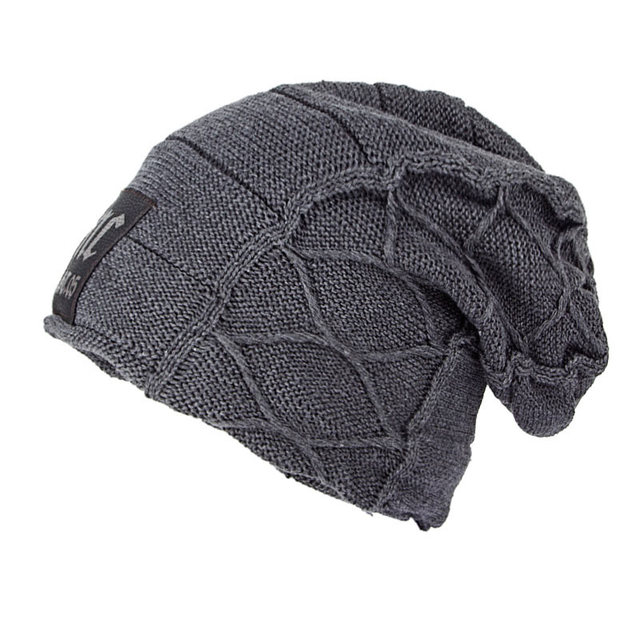 c4afdeee9 US $6.99 |Winter Fleece Lined Knit Skull Cap Plaid Oversized Baggy Beanie  Slouchy Hats for Men,Gray Dark Red Brown Black -in Skullies & Beanies from  ...