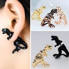 Handmade Black Enamel Alloy Stud Earrings For Women nimal Piercing Ear Jewelry Novelty 3D Earrings Christmas Gift Bijoux Brincos