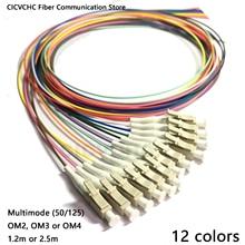 12 cores lc/upc multimodo (50/125) om2, om3, OM4 0.9mm Cable 1.2m, 2.5m/trança de fibra óptica