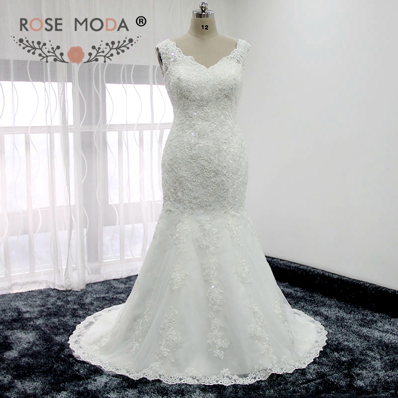 Rose Moda V Neck Fit And Flare Lace Mermaid Wedding Dress