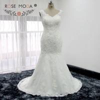 Rose Moda V Neck Fit and Flare Lace Mermaid Wedding Dress V Back Destination Wedding Gown